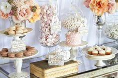 One of the keys to designing a beautiful dessert display is simplicity. Simplicity in color, size, placement of each little morsel. Every plate has a simple and beautiful arrangement, which can be seen across the entire buffet. Often times monochromatic designs are the most striking.