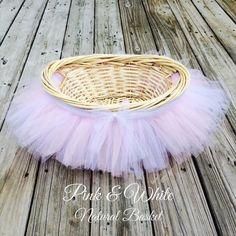 Tutu Basket, Photo Prop, Tutu Baby Shower Basket, Tutu Easter Basket, Flower Girl Basket, Tulle Basket, Gift Basket, Nursery Decor