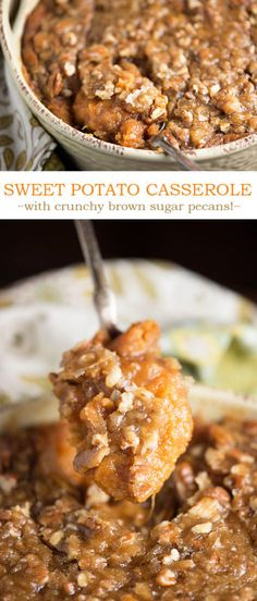 Creamy sweet potatoes with a crunchy brown sugar pecan crust - this is the best sweet potato casserole recipe ever!