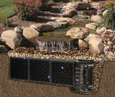 Why You Should Invest In Simple Water Features For Your Home Garden – Pool Landscape Ideas Epdm Pond Liner, Pond Netting, Pond Lights, Backyard Water Feature, Sloped Backyard, Ponds Backyard, Backyard Ideas, Garden Ideas, Pond Landscaping