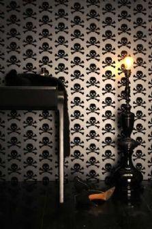 black flocked skulls