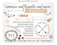 Arrows Laurels and More Digital Clipart in Blush por KellyJSorenson, $15.00
