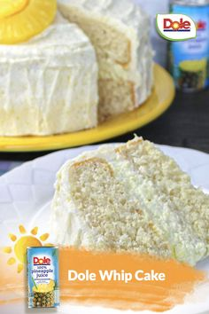 Dole Whip®, but make it cake! Perfect for any occasion from birthdays to Wednesdays. #NationalDessertDay Dole Pineapple Juice, National Dessert Day, Delicious Desserts, Dessert Recipes, White Cake Mixes, Yogurt Cups, Whipped Topping, Eat Dessert First, Yummy Cakes