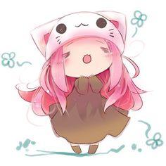 1girl :3 = = animal hat cat hat chibi hat megurine luka megu ...