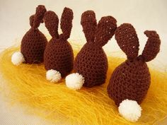 Eggs  warmers - bunnies from MariArt by DaWanda.com Beautiful eggs warmers will be great decoration of Easter table.  Thanks to them, eggs will be longer warm.  Warmers in the shape of rabbits, made of cotton in color brown with white tail. #Easter #Eggswarmers #MariAndAnnieArt #Wielkanoc #ocieplacze