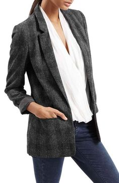 Free shipping and returns on Topshop Check Boyfriend Jacket at Nordstrom.com. Easy grey checks further the refined, old-school look of this oversized lapel-front jacket perfect for sophisticated fall layering.