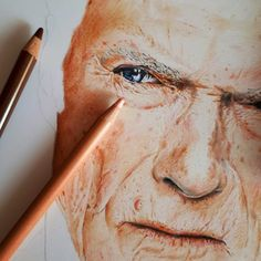 Clint Eastwood pencil drawing by @alexandra.zeres.art on Instagram, using Polychromos by Faber-Castell, Marco Renoir and Lyra Rembrandt pencils.