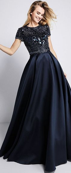Graceful Satin Jewel Neckline Short Sleeves A-line Prom Dress With Beadings