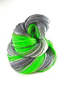 Hand dyed yarn, Neon Green Silver,