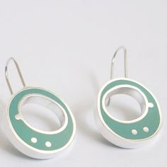 Sterling Silver and Turquiose Round Earrings