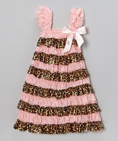Pink & Brown Leopard Ruffle Dress - Infant, Toddler & Girls