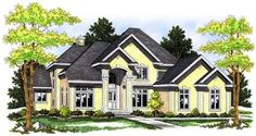 This two-story, four-bedroom house plan offers a classy stucco exterior and over 4,000 square feet of living space. From the foyer, walk to the spacious two-story great room, which features a fireplace surrounded by built-in cabinets. The kitchen has an island, ample counter space, and a pantry and is open to the nook to make it ease to serve meals. You can access the rear deck from the nook.  Special occasion meals can be held in the formal dining room.  The main-floor master suite has a…
