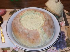 Bread bowl & Panera's broccoli and cheese soup recipes. Yum!