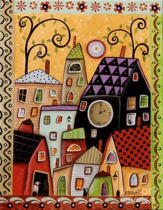 Folk Art City Painting Painting - Bright Afternoon by Karla Gerard
