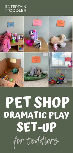Dramatic play is a fun way to encourage independent play and exercise imagination in toddlers and preschoolers. Do your kids love pets or animals? They will have a blast with this pretend pet shop set up! Set it up once and play all week long! #EntertainYourToddler #pretendplay #dramaticplay #petshop #indooractivities
