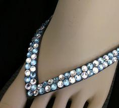 9ba25c973bc7b Rhinestone Swarovski Crystal Flip Flops - 2 Rows Black Flip flops