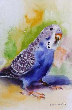 "Daily Paintworks - ""budgie25"" - Original Fine Art for Sale - © Katya Minkina"