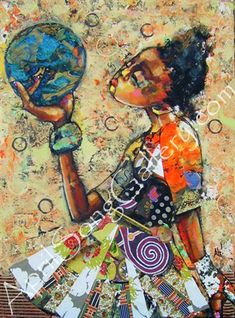 April Harrison Wilson Gallery, standing on the shoulders of our ancestors she has the whole world in her hand. Collages, Collage Art, African American Artwork, African Art, 365days, Black Artwork, Love Art, Mixed Media Art, Painting Inspiration