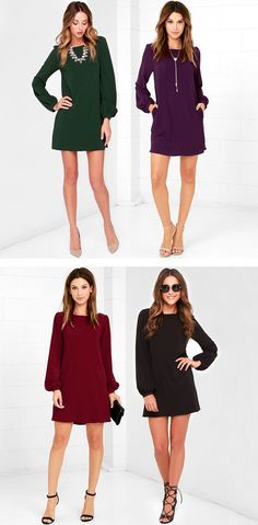 You'll be primed and ready in the Perfect Situation Black Long Sleeve Shift Dress when everything starts falling into place! This woven poly dress has a casual shift shape, accented by a rounded neckline and long sleeves with lightly puffed shoulders. Sleeves end with covered buttons on the fitted wrist cuffs. #lovelulus