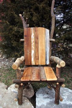 Rustic furniture Live Edge Throne Reclaimed Wood Chair Natural Rustic on Etsy, $450.00