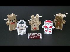 Cookie Cutter Christmas Slider Treats | Video Tutorial, Hershey's Miniatures, Teddy Bear, Eskimo, Reindeer, Santa Claus, Gingerbread Man, Christmas Favors, Cookie Cutter Christmas Stamp Set, Cookie Cutter Builder Punch, Simply Scored, Stampin' Up, Qbee's Quest, Brenda Quintana