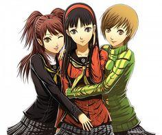 Persona 4 Rise, Chie, and Yukiko.