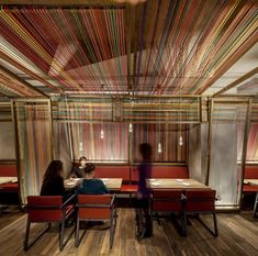 """Pakta >>> El Equipo Creativo >>> The panels pass over the heads of diners who are served a fusion of Peruvian and Japanese cuisine at Patka, whichmeans """"union"""" in Peru."""