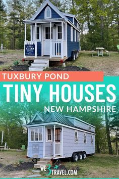 """If you are looking for a fun and unique weekend getaway or glamping option on a budget, the Tuxbury Tiny House Village on the Tuxbury Pond RV Resort may be just the """"little"""" thing you are searching for. Tiny House Village, New England Travel, Winter Mountain, New Hampshire, Family Activities, Weekend Getaways, Glamping, Searching, Pond"""