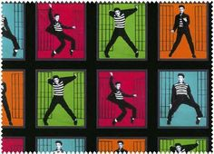 ELVIS!! Jail House Rock Dance - 100% Cotton Fabric - Quilt Shop Quality - Rock & Roll Music - Sold by the Panel - Each Panel 12x44
