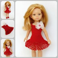 Doll clothes Paola Reina doll dress shoes red dress handmade