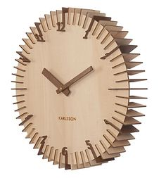 http://www.phomz.com/category/Wall-Clock/ UNUSUAL RIBBED WOODEN WALL CLOCK