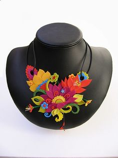 Clay multi colored floral inspired necklace by Camile Young. jungle necklace by meeellla, via Flickr