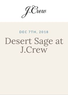 "Desert Sage at J.Crew - Come check out Desert Sage! They'll be presenting their popular series ""Beyond Teabags: The Joys of Drinking Tea"".Watch how teas are brewed & enjoy sampling Fine Single Estate specialty teas."