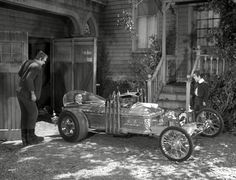 The Munsters garage and back porch.