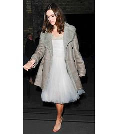 @Who What Wear - Keira Knightley                 Tip: Tulle Dress + Shearling Coat  On Knightley: Chanel Haute Couture dress; Burberry coat  Get The Look: Holly Lace And Mesh Tutu Dress ($30); Warehouse Long Bonded Faux Fur Coat ($180)