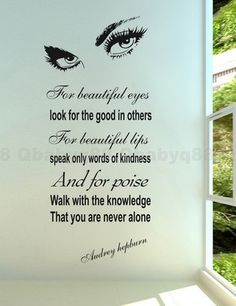 For Beautiful Eyes Audrey Hepburn Wall Quote decals sticker home decor Vinyl art