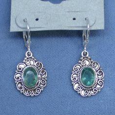 Genuine Apatite Earrings - Leverback - Sterling Silver - Victorian Filigree - Oval - Handmade - 171408