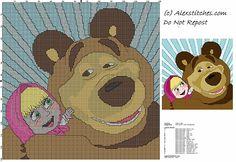 Masha and the Bear embraced children free cross stitch pattern
