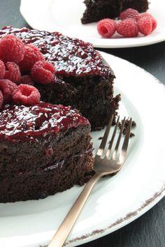 Glutenvrije en lactosevrije chocoladetaart met frambozen - Foodless