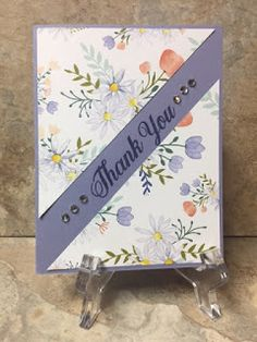 "**** 2017 Marlene BD Club (2nd)  C/S:  Wisteria Wonder, K & Co Designer Paper (cut 4 x 4 1/2"") then cut diagonally. Mark edges of paper along area where sentiment goes. Embossed Happy Birthday with clear embossing powder. Adhere patterned paper. Add rhinestones"