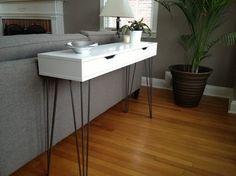 """Aus einem Wandregal wird eine moderne Kommode #Ikeahack #Ekby Alex shelf + 26"""" hairpin legs = console table with storage   @covercouch"""