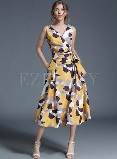 Shop for high quality Graffiti Gathered Waist Sleeveless V-neck Skater Dress online at cheap prices and discover fashion at Ezpopsy.com