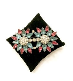 New items daily pls follow pls share Two Flower Bar Brooch, Pink Aqua Tear Drop Rhinestones Petals Ice Rhinestone Chatons Rhodium Plated Metal Mid-Century Vintage Gift for Her http://etsy.me/2oZcdrW #floralbrooch #vintagebrooch #1940s1950s