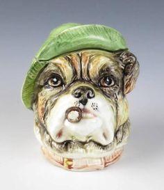 QUALITY Antique Austrian FIGURAL SMOKING DOG Majolica TOBACCO JAR Bulldog Cigar