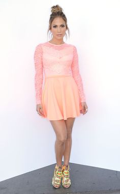 JLo rocks a flourescent ASOS lace skater dress and shoes by Sophia Webster. Killing it.