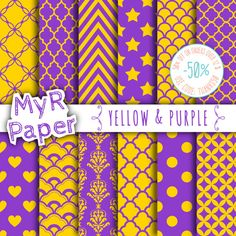 "Digital Paper: ""Yellow & Purple"" #Patterns Pack and Backgrounds with Damask, Polka Dots, Chevron, Stars, Hearts in Dark Purple and Yellow   50% OFF ON ORDERS OVER 12 $ (OR N... #design #graphic #digitalpaper #scrapbooking"