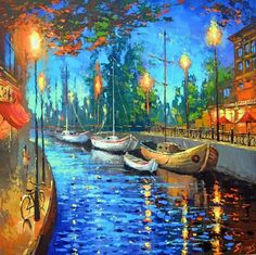 Items similar to At the cafe - Wall Art Oil Palette Knife Painting on Canvas by Dmitry Spiros. Paris Painting, Boat Painting, Oil Painting On Canvas, Canvas Art, Modern Oil Painting, Oil Painting Texture, Country Paintings, Old Paintings, Landscape Art
