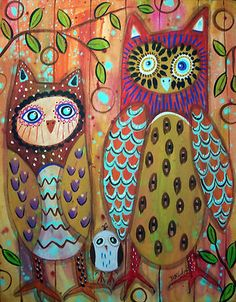 Great new painting on canvas, ready to hang...Owls Three, copyrighted, www.karlagerard.com
