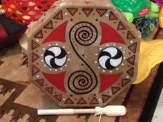 8 sided cedar framed cow hide painted hand drum I made