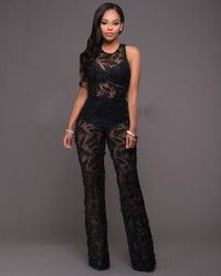 2a8945b97bc4 Chic Couture Online - Axelle Black Feather Textured Sheer Jumpsuit.(http
